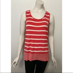 Olive & Oak Coral Pink and White Striped Tank Top
